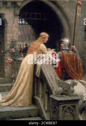 Dio velocità', 1900. Artista: Edmund Blair Leighton. Edmund Blair Leighton (1852-1922) è stato un pittore inglese di scene di genere storico, specializzato in reggenza e soggetti medievali.