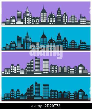 Set di silhouette paesaggistiche della città con case grattacieli