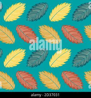 Foglie di caduta colorate su sfondo blu, motivo vettoriale senza giunture autunnale Foto Stock
