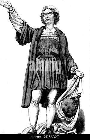 1451-1506, Cristoforo Colombo, navigatore italiano, esploratore, scopritore nato a Genova, Italia, riproduzione storica, digitale migliorata di un originale del 19 ° secolo / digitale Reproduktion einer Originalvorlage aus dem 19. Jahrhundert Foto Stock