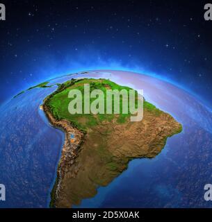Cartina Fisica America Latina.Sud America Mappa Su Un Globo Con Uno Sfondo Bianco Foto Stock Alamy