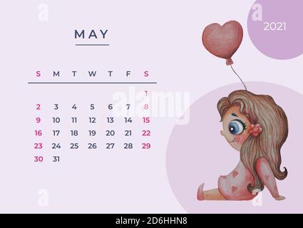 Calendario colorato per l'anno 2021, in formato vettoriale. Lingua