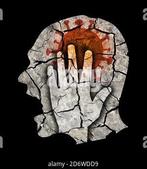 Uomo depresso da una pandemia di coronavirus. Silhouette maschile stilizzata con testa incrinata che simboleggia follia, depressione, mal di testa. Foto Stock