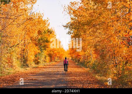 Bicicletta ciclista in bicicletta nella foresta autunnale con splendidi paesaggi di foglie rosse di autunno fogliame. Pedalando su strada