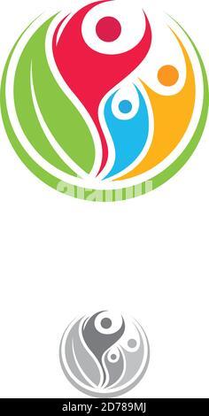 Persone colorate e comunitarie con simboli vettoriali rotondi a foglia verde. Foglia verde natura organica. Illustrazione vettoriale EPS.8 EPS.10