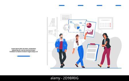 Modello di sito web con il team di business che analizza il mercato, flat vettoriale illustrazione. Foto Stock