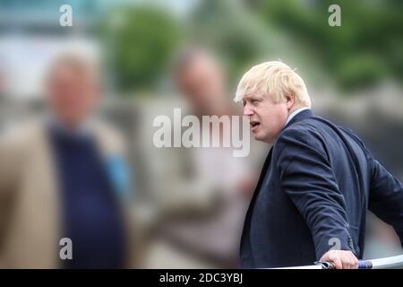 Il primo ministro britannico Boris Johnson visita Plymouth nel 2017 quando era Segretario di Foriegn. Colpo generico prima del posto di leadership