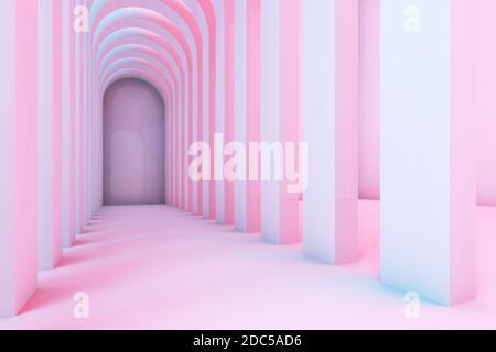 Corridoio vuoto di archi con illuminazione colorata, sfondo interno astratto. illustrazione del rendering 3d