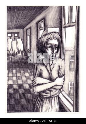 Infermiere infermieristico sottolineato, isolamento, salute mentale PTSD lavoro preoccupazioni Coronavirus, Covid-19 ambiente originale illustrazione arte in bianco e nero grafite Foto Stock
