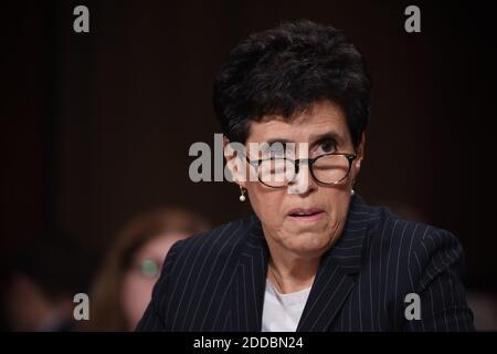 L'avvocato di Christine Blasey Ford, Debra S Katz, è visto durante la sua audizione di conferma del Comitato giudiziario del Senato degli Stati Uniti su Capitol Hill a Washington, DC, 27 settembre 2018. Foto di Saul Loeb/piscina/ABACAPRESS.COM