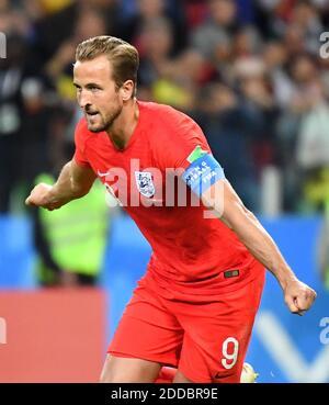 Harry Kane, in Inghilterra, celebra il punteggio ottenuto durante la finale della Coppa del mondo FIFA 2018 1/8, partita Colombia contro Inghilterra, allo Spartak Stadium di Mosca, Russia, il 3 luglio 2018. Foto di Christian Liegi/ABACAPRESS.COM