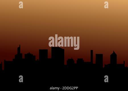 Sfondo di sagome di grattacieli. Paesaggio vettoriale moderno. Città moderna, case, grattacieli. Silhouette scura di edifici sullo sfondo di