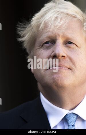 Il primo ministro britannico Boris Johnson fa gesti al Palazzo Elysee di Parigi il 22 agosto 2019. Foto di Eliot Blondt/ABACAPRESS.COM