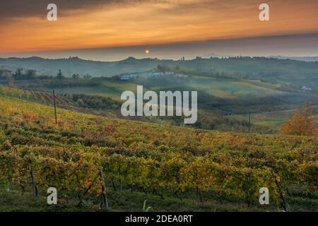 Incredibile tramonto sulle Langhe, famoso vigneto Unesco del Piemonte, Italia, in autunno