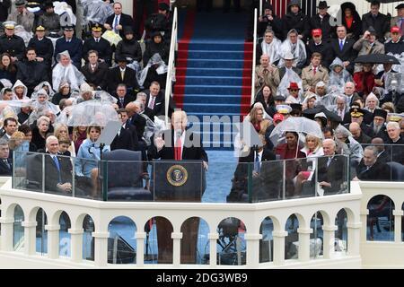 Il presidente Donald Trump ha pronunciato il suo discorso inaugurale in occasione dell'inaugurazione del 20 gennaio 2017 a Washington, D.C. Trump è diventato il 45° presidente degli Stati Uniti. Foto di Pat Benic/UPI Foto Stock