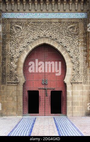 Ingresso del Mausoleo di Mouley Ismail a Meknes Foto Stock