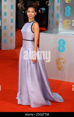 Gugu Matha-Raw partecipa all'EE British Academy Film Awards 2015 che si tiene alla Royal Opera House di Covent Garden, Londra UK. Foto Stock