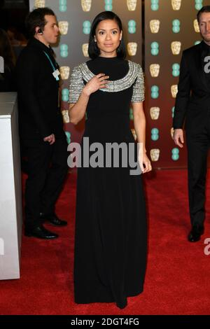 Gugu Matha-Raw partecipa all'EE British Academy of Film Awards (BAFTA) alla Royal Albert Hall di Londra Foto Stock
