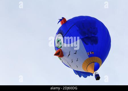 un pallone ad aria calda di forma speciale blu come testa di uccello 'tweety' closeup vola nel cielo blu in sint-niklaas durante i festeggiamenti annuali per la pace