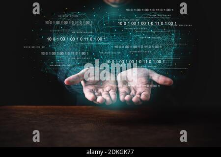 intelligenza artificiale idee di big data concetto uomo di business mostra a mano tecnologia ologramma in mano nero terreno