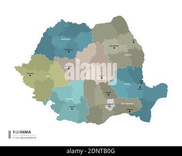 Cartina Dettagliata Romania.Bucarest Colorata Mappa Vettoriale Piano Particolareggiato Della Citta Fiumi E Strade Immagine E Vettoriale Alamy