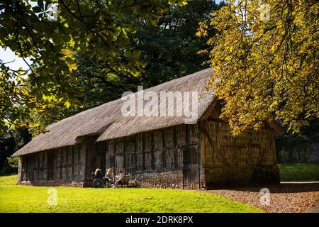 Regno Unito, Galles, Cardiff, St. Fagans, Museo Nazionale di Storia, Stryd Lydan Barn, famiglia che ha picnic al sole