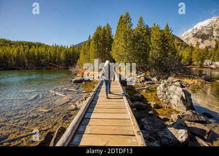 USA, Wyoming, Jackson, Grand Teton National Park, donna anziana che cammina su un sentiero in legno sul lago Taggart nel Grand Teton National Park