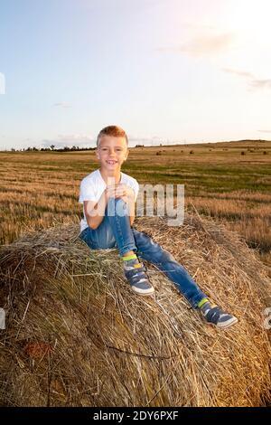 Ritratto di ragazzo sorridente seduto su Haystack sul campo