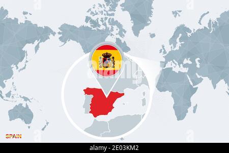 Cartina Mondo Ingrandita.Ingrandisci La Cartina E Bandiera Della Spagna Mappa Del Mondo Immagine E Vettoriale Alamy