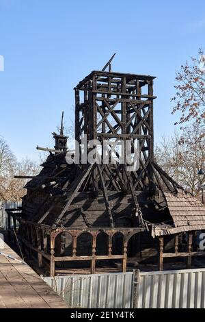 PRAGA, REPUBBLICA CECA - 26 DICEMBRE 2020: Chiesa ortodossa Ucraina di San Michele nel Giardino Kinksy, gravemente danneggiata dal fuoco nell'ottobre 2020