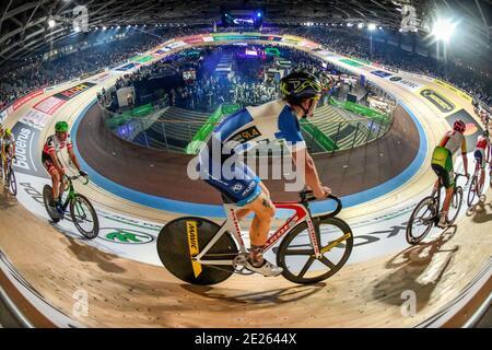 Sixdays Berlin 2019, 4. Tag. Sonntag 27.01.2019, 7,5 km Punktefahren, Velodrom, Prenzlauer Berg di Berlino, Deutschland Foto Stock