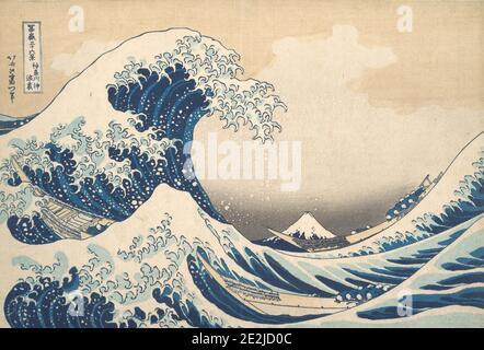 Sotto l'onda fuori Kanagawa (Kanagawa oki nami ura), o la Grande onda, dalla serie trentasei viste del Monte Fuji (Fugaku sanjurokkei), ca. 1830-32.