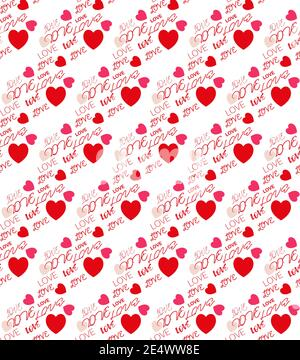 Amore cuori e messaggi di testo che ripetono il vettore patten