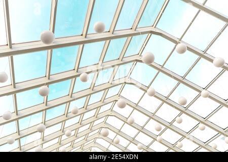 Tetto trasparente moderno in interni futuristici con archi bianchi in prospettiva. Lampade bianche a sfera.