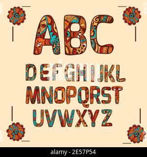 Lettere colorate con alfabeto zentangle con ornamento decorativo vettore isolato illustrazione Foto Stock