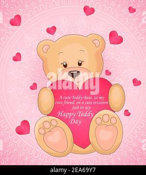 orsacchiotto che tiene un cuore giocattolo nelle sue zampe con citazione , sfondo di cuore rosa e rosso, concetto di carta giorno di san valentino