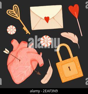 Set per San Valentino. Chiave, serratura, caramelle, piume di uccello, busta e cuore trafitto con freccia su uno sfondo nero
