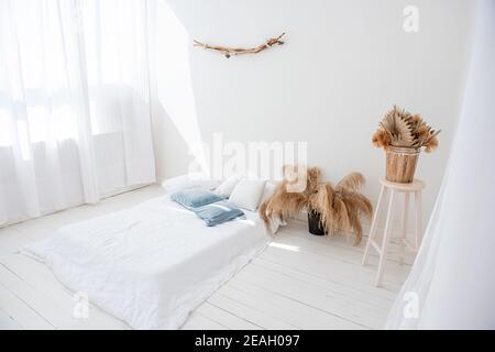 Loft bianco minimalista in stile scandinavo. C'è letto su pavimento in legno, tulles arioso chiaro sulle finestre, vi è pampas erba in vasi
