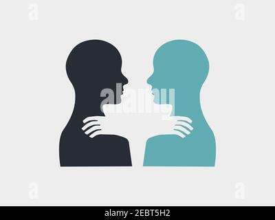 Simbolo di solidarietà. Persone diverse che tengono le mani sulle spalle l'una dell'altra. Silhouette per due persone. Logo vettoriale.