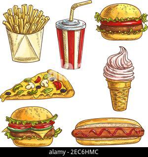 Set di icone per schizzi fast food. Elementi isolati di hamburger, hamburger, cheeseburger, bevanda analcolica in tazza, cono gelato, fetta di pizza, hot dog, patatine fritte Foto Stock