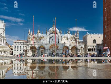 Famosa Basilica di San Marco o Basilica di San Marco, Venezia, Veneto, Italia