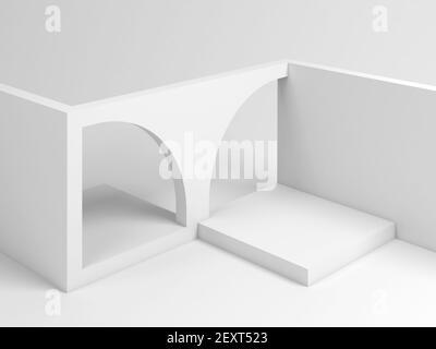 Installazione architettonica bianca astratta di blocchi cubici vuoti con archi, rappresentazione 3d