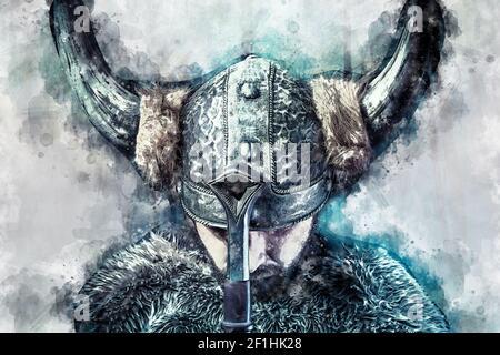 Pace, acquerello, guerriero vichingo, maschio vestito in stile barbaro con spada, sopportato Foto Stock