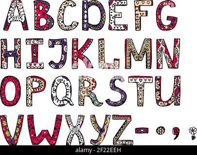 l'alfabeto decorativo vettoriale ornamentale disegnato a mano su sfondo bianco Foto Stock