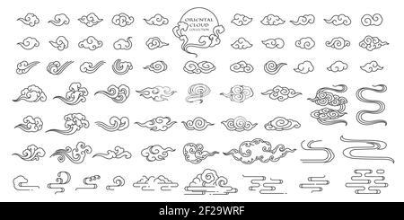 Set di illustrazioni nuvole orientali. Elementi nuvolari cinesi. Clip a mano lineare art. Stile giapponese, tailandese, tibetano, coreano. Tradizionale, contemporaneo, mo