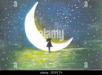 Silhouette ragazza in piedi vicino alla luna. Illustrazione che racconta storie magiche. Nebbia al chiaro di luna. Pittura d'arte, disegno acquerello Foto Stock