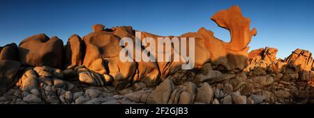 Geografia / viaggio, Francia, Corsica, Sunset luce su formazioni di granito naturale a pointe de Campomoro, Additional-Rights-Clearance-Info-non-disponibile