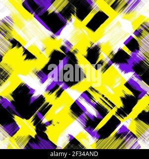 Macchie di vernice gialla, nera, viola scuro, bianca. Sfondo multicolore. Tratti di pennello caotici e luminosi astratti. Carta da parati grunge, art design moderno