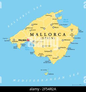 Cartina Spagna Isole Baleari.Isole Baleari Mappa Politico Con Capitale Palma Arcipelago Della Spagna Nel Mare Mediterraneo Nei Pressi Della Penisola Iberica Costa Foto Stock Alamy