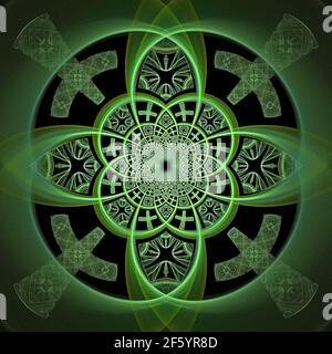 Design celtico moderno geometrico - Flame Fractal Art Foto Stock